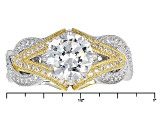 White Cubic Zirconia Platineve And 18k Yg Over Sterling Silver Ring 3.65ctw
