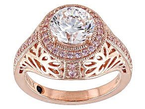 Pink And White Cubic Zirconia 18k Rose Gold Over Sterling Silver Ring 3.59ctw