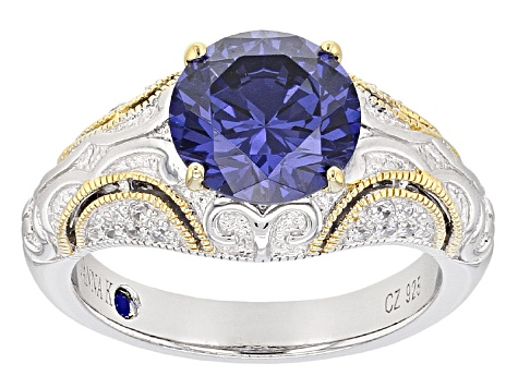 Blue And White Cubic Zirconia Platineve And 18K Yellow Gold Over Sterling Ring 4.45ctw