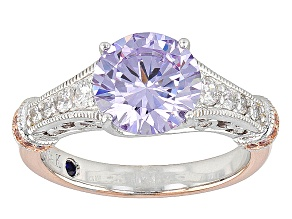 Pink/Purple/White Cubic Zirconia Platineve And 18k Rose Gold Over Sterling Silver Ring 4.92ctw