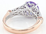 Pink/Purple/White Cubic Zirconia Platineve And 18k Rg Over Sterling Silver Ring 4.92ctw
