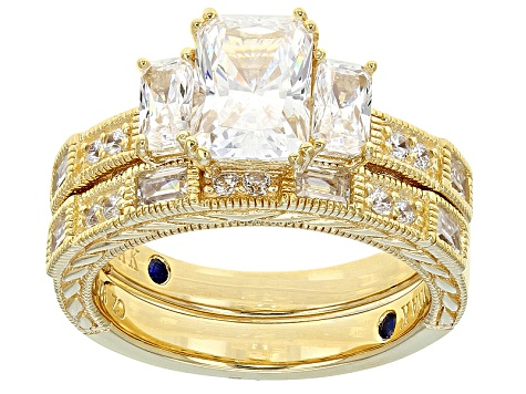 White Cubic Zirconia 18k Yellow Gold Over Silver Ring With Band 4.26ctw