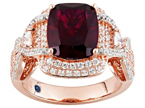Lab Created Ruby And White Cubic Zirconia 18k Rose Gold Over Silver Ring 5.75ctw