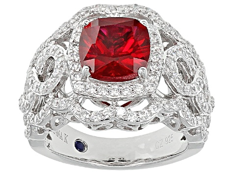 Red Synthetic Corundum And White Cubic Zirconia Platineve Ring 3.79ctw