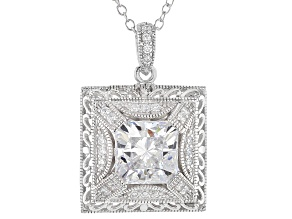 White Cubic Zirconia Platineve Pendant With Chain 4.21ctw