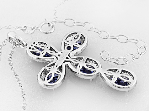 Blue And White Cubic Zirconia Platineve Cross Pendant With Chain 7.04ctw