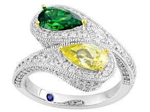 White, Green And Yellow Cubic Zirconia Platineve Ring 3.99ctw