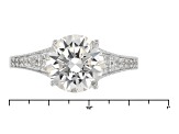 White Cubic Zirconia Platineve Ring With Guard 5.11ctw