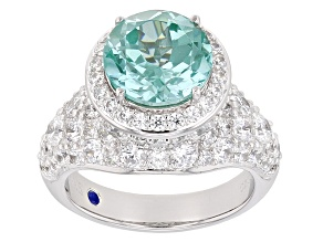 Blue Synthetic Spinel And White Cubic Zirconia Platineve Ring 10.58ctw