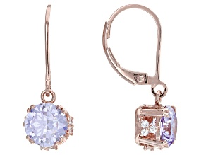 Lavender And White Cubic Zirconia 18k Rose Gold Over Sterling Silver Earrings 6.35ctw