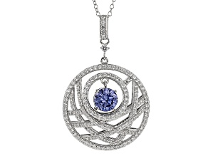 Blue And White Cubic Zirconia Platineve Pendant With Chain 3.80ctw