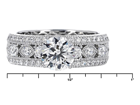 Cubic Zirconia Platineve Ring With Band 4.09ctw (2.58ctw DEW)