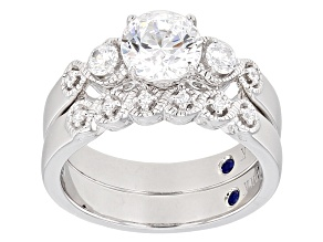 Cubic Zirconia Platineve Ring With Band 2.56ctw (1.58ctw DEW)