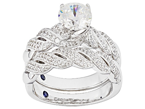 Cubic Zirconia Platineve Ring With Band 2.93ctw (1.84ctw DEW)