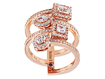 Picture of Cubic Zirconia 18k Rose Gold Over Silver Ring 2.46ctw (1.59ctw DEW)