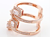 Cubic Zirconia 18k Rose Gold Over Silver Ring 2.46ctw (1.59ctw DEW)