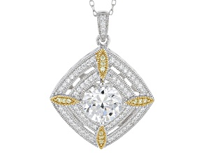 Cubic Zirconia Platineve And 18k Yellow Gold Over Silver Pendant With Chain 3.51ctw