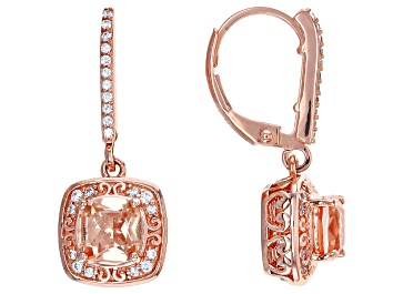 Picture of Morganite Simulant And White Cubic Zirconia 18k Rose Gold Over Silver Earrings 1.76ctw