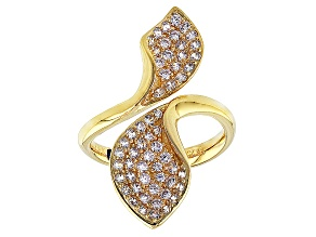Cubic Zirconia 18k Yellow Gold Over Silver Ring 1.35ctw (.82ctw DEW)