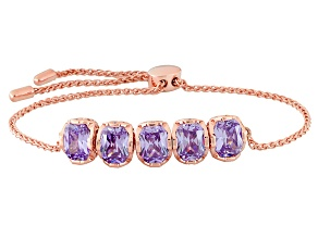 Lavender And White Cubic Zirconia 18k Rose Gold Over Silver Bracelet 10.89ctw