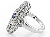 Blue And Whie Cubic Zirconia Platineve Ring 1.31ctw