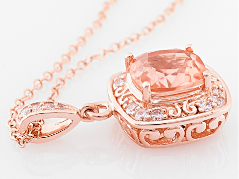 Morganite Simulant And White Cubic Zirconia 18k Rose Gold Over Silver Pendant With Chain