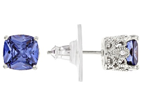 Blue & White Cubic Zirconia Platineve Earrings 5.21ctw