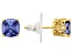 Blue & White Cubic Zirconia 18k Yellow Gold Over Silver Earrings 5.21ctw