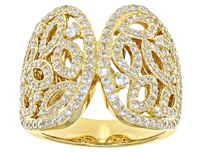 Cubic Zirconia 18k Yellow Gold Over Silver Ring 2.29ctw (1.66ctw DEW)