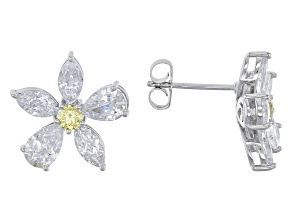 Yellow And White Cubic Zirconia Platineve Earrings 4.93ctw (3.28ctw DEW)