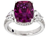 Lab Created Pink Sapphire And White Cubic Zirconia Platineve Ring 6.20ctw