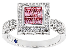 Pink And White Cubic Zirconia Platineve Ring 2.15ctw (.98ctw DEW)