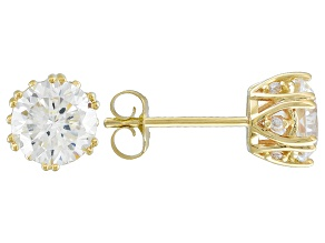 Cubic Zirconia 10k Yellow Gold Stud Earrings 3.22ctw (1.92ctw DEW)