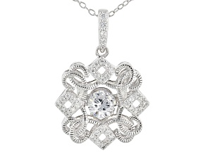 White Cubic Zirconia Platineve Pendant With Chain 1.17ctw