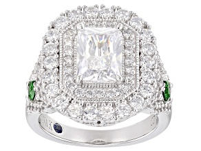 White And Green Cubic Zirconia Platineve Ring 5.35ctw