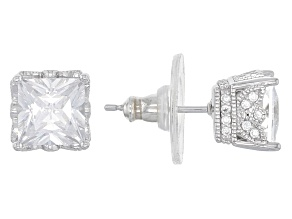 White Cubic Zirconia Platineve Earrings 4.81ctw