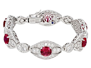 Synthetic Red Corundum And White Cubic Zirconia Platineve Bracelet 15.16ctw