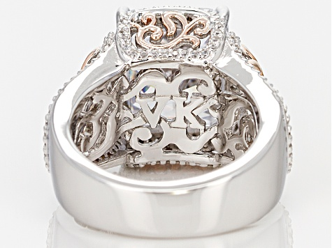 White Cubic Zirconia Platineve And 18k Rose Gold Over Sterling Silver Ring 8.85ctw