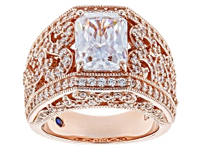 White Cubic Zirconia 18k Rose Gold Over Sterling Silver Ring 5.86ctw