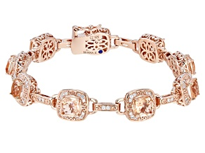 Morganite Simulant And White Cubic Zirconia 18k Rose Gold Over Silver Bracelet 7.59ctw