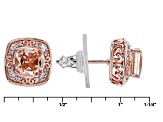 Morganite Simulant And White Cubic Zirconia 18k Rose Gold Over Sterling Earrings 1.62ctw