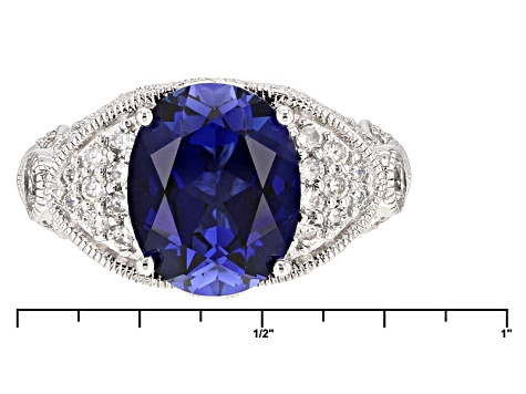 Synthetic Blue Corundum And White Cubic Zirconia Platineve Ring 5.41ctw