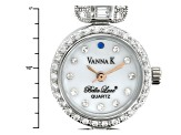 VANNA K (TM) FOR BELLA LUCE (R) 5.09CTW  ROUND W/ ROSE TONE HANDS & MOP DIAL STERLING White WATCH