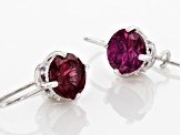 Synthetic Red Corundum And White Cubic Zirconia Platineve Earrings 2.92ctw