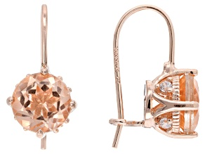 Peach Quartz Doublet & White Cubic Zirconia 18k Rose Gold Over Sterling Earrings 2.06ctw