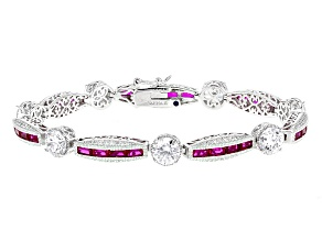 Lab Created Ruby And White Cubic Zirconia Platineve Bracelet 15.79ctw