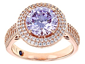 Purple And White Cubic Zirconia 18k Rose Gold Over Sterling Silver Ring 5.15ctw
