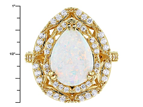 Synthetic White Opal & White Cubic Zirconia 18k Yellow Gold Over Sterling Silver Ring 2.66ctw