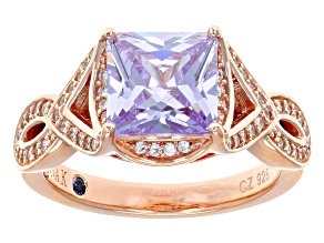 Purple And White Cubic Zirconia 18k Rose Gold Over Sterling Silver Ring 4.37ctw