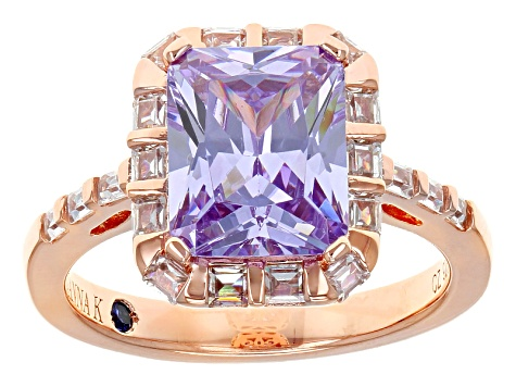 Purple And White Cubic Zirconia 18k Rose Gold Over Sterling Silver Ring 6.27ctw